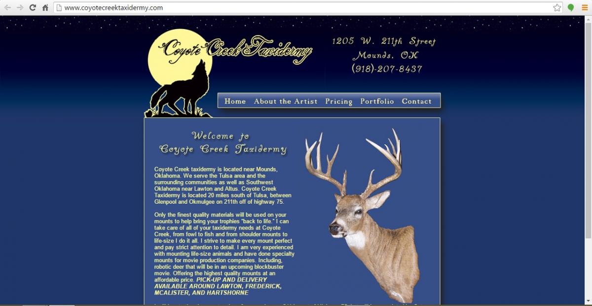 Mounds, Oklahoma Taxidermy Web Design
