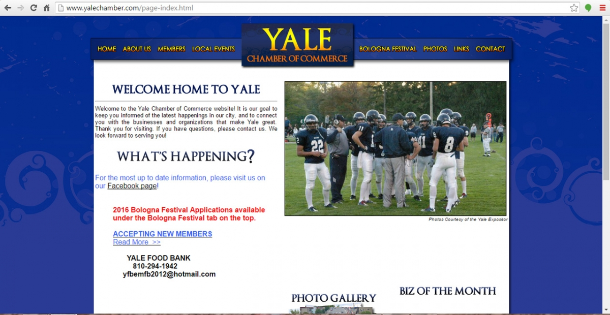 Yale, Michigan Chamber Web Design