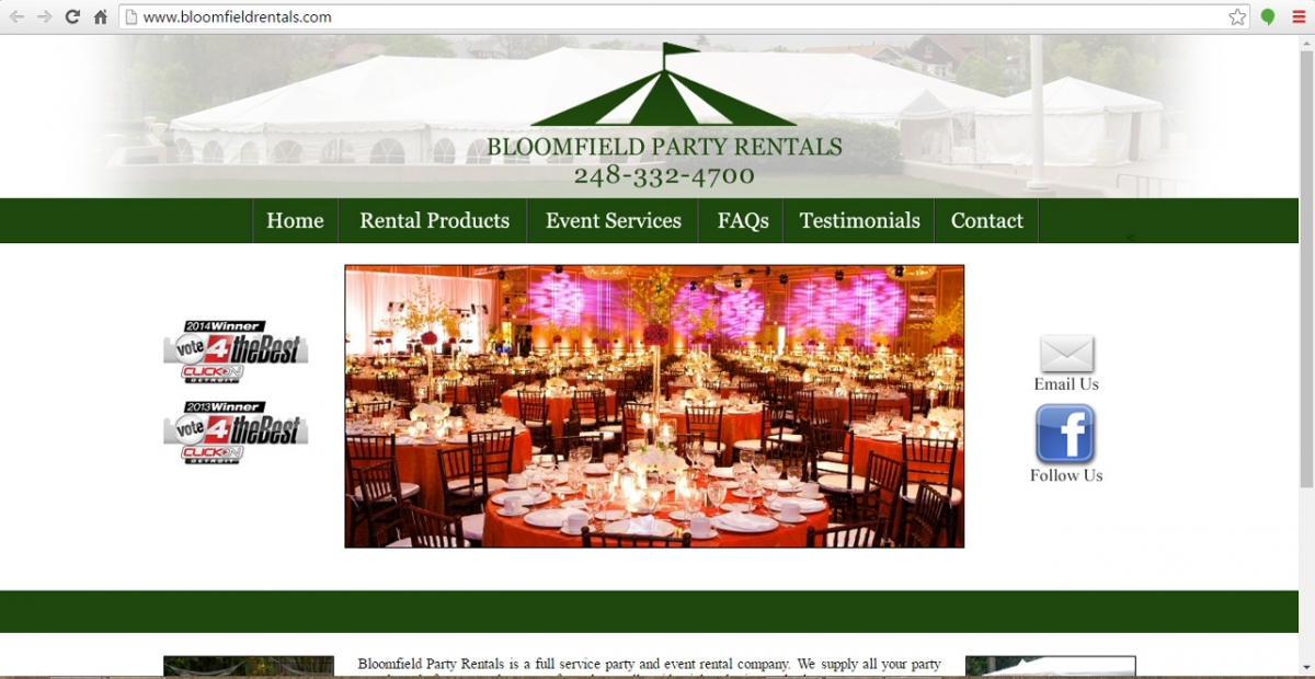 Bloomfield Hills, Michigan Tent Rentals Web Design