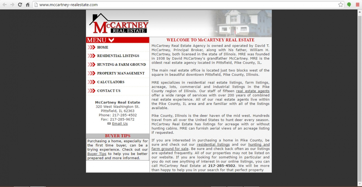 Pittsfield, Illinois Real Estate Website Design