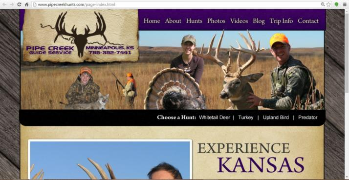 Minneapolis, Kansas Hunting Web Design