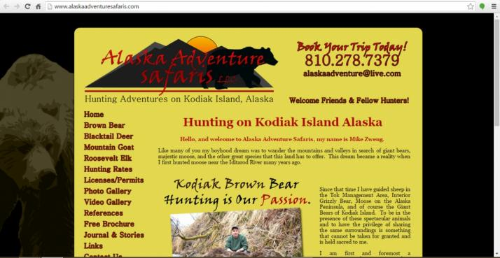 Kodiak Island, Alaska Hunting Web Design