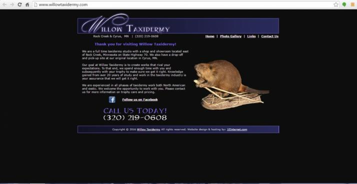 Rock Creek, Minnesota Taxidermy Web Design
