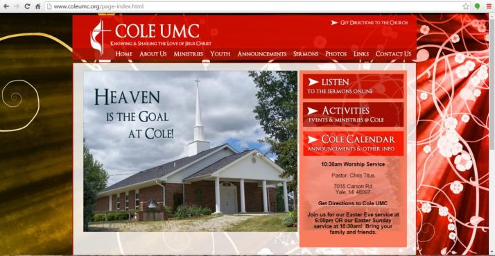 Yale, Michigan Church Website Design