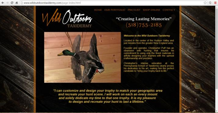 Hudson Valley, New York Taxidermy Web Design