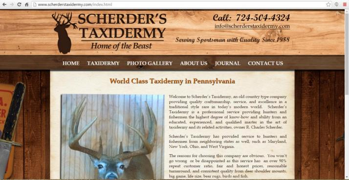 Butler, Pennsylvania Taxidermy Web Design